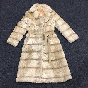 Vintage Vegan Leather Faux Fur Duster Coat
